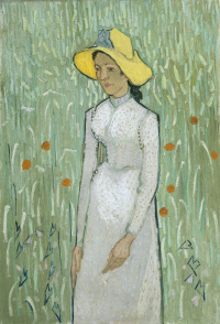The girl on the background of a wheat field (Girl in white)