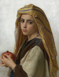Oriental girl with a pomegranate