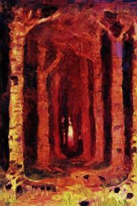 """Закат в лесу. Этюд к картине """"Закат солнца в лесу"""""""