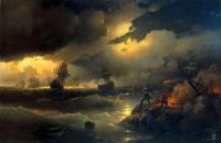 Петр I при Красной горке, зажигающий костер на берегу для подачи сигнала гибнущим судам своим