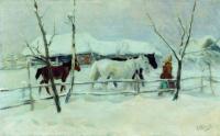Алексей Степанович Степанович (1858-1923). На водопой. 1916