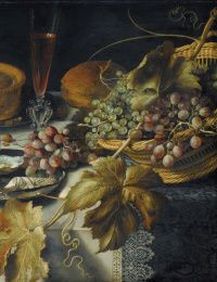 Питер Клас. Натюрморт с кувшином, разбитым бокалом, пирогом, устрицами и виноградом. Фрагмент 3