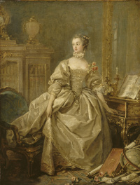Madame de Pompadour with her hand on the keyboard harpsichord