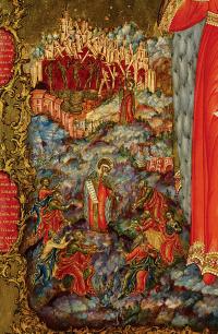 Holy Princess Olga with the life. Fragment. Nevyansk, workshop Bogatyrevs