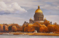"""Landscape of Saint-Petersburg oil """"Autumn view of St. Isaac's Cathedral from the Neva river"""""""""""
