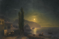 Ivan Aivazovsky. The rising moon over the Ayu-Dag