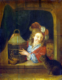 Children with a bird and a cat