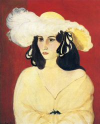 The lady in the white hat