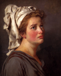 Portrait of a young woman in a turban