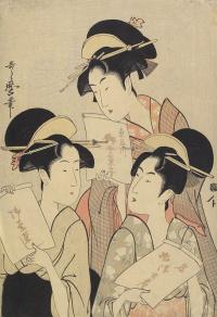Три девушки с упаковками от сладостей
