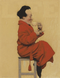 "Maxfield Parrish. A man on a stool with a cup of tea. Picture for the magazine ""Life"""