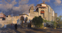 Evening. The entrance to the monastery of Vatopedi
