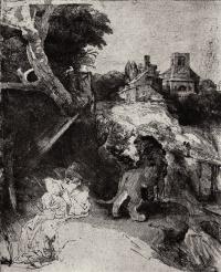 Рембрандт Харменс ван Рейн. Святой Иероним в итальянском пейзаже