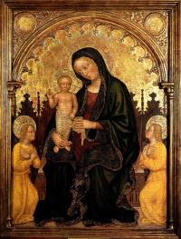Джентиле да Фабриано. Мадонна с Младенцем и двумя ангелами