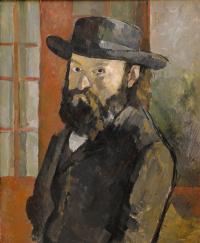 Portrait of the artist wearing a wide-brimmed hat