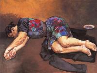 Спящая женщина и черный пиджак