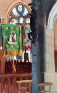 The interior of the Church with the green flag