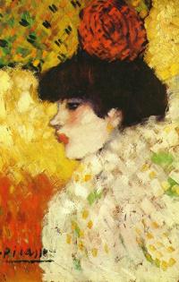 Профиль молодой девушки (Девушка с красным цветком в волосах)