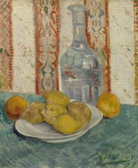 Still life with carafe and dish with citrus
