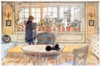 """Цветы в гостиной. Акварель из альбома """"Наш дом"""""""