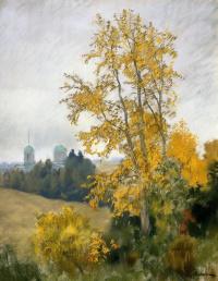 Исаак Ильич Левитан. Осенний пейзаж с церковью