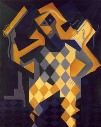 Harlequin with violin