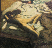Woman slumbering on the bed