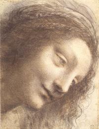"""Голова Мадонны (Набросок к картине """"Мадонна с младенцем и Святой Анной"""")"""
