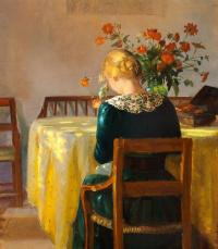 Интерьер с дочерью художницы Хельгой за шитьём