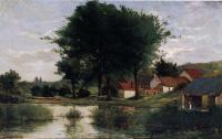 Осенний пейзаж (Ферма и пруд)
