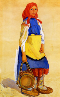 A peasant girl in a blue sundress and sandals