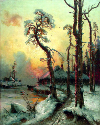 Winter landscape with river and houses