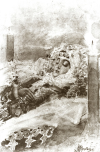 """Tamara in a coffin. Illustration to the poem by Mikhail Lermontov """"Demon"""""""