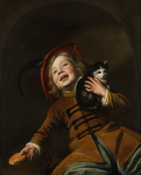 Portrait of a boy with a cat