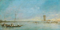 View of the Venetian lagoon with the tower of Mulger
