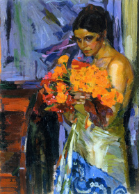 Woman with nasturtiums