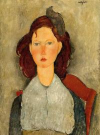 Портрет юной девушки на стуле