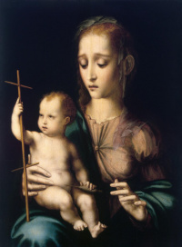 Madonna and child with spinning wheel in the shape of a cross