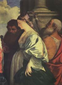 Мадонна с Младенцем и четырьмя святыми, Иоанном Крестителем, Павлом, Марией Магдалиной и Иеронимом. Фрагмент: Мария Магдалина