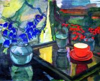 Натюрморт с красной чашкой и колокольчиками