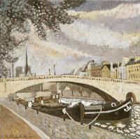 Париж. Барки у моста Турнель 70х70 х. м. 2017