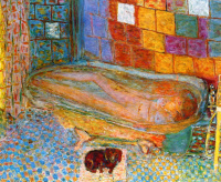 Pierre Bonnard. Nude in bath and small dog