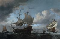 Виллем ван де Вельде Младший. Голландский флот собирается перед Четырёхдневным сражением 11 – 14 июня 1966 года с «Лифде» и «Хауден Леувен» на переднем плане