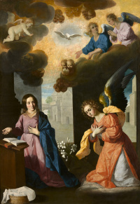 The main altar of the Carthusian monastery of Nuestra Señora de La Definicion in Jerez yeah La Frontera, scene: Annunciation