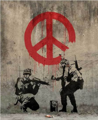 """Soldiers painting the sign """"Peace"""""""
