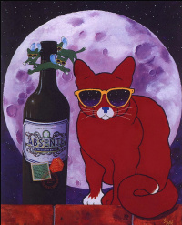 Cat and absinthe
