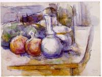 Поль Сезанн. Натюрморт с графином, сахарницей, бутылками, гранатами и арбузами