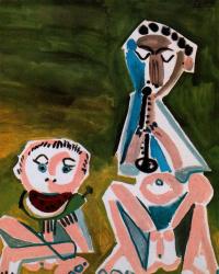 Пабло Пикассо. Флейтист и человек с арбузом