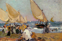 Хоакин Соролья (Соройя). Парусные лодки в ветреный день, Валенсия