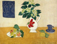 Still life with a vase, fruit and a cup
